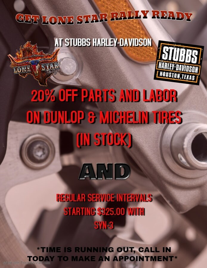20% off parts and labor on all Dunlop and Michelin parts in-stock