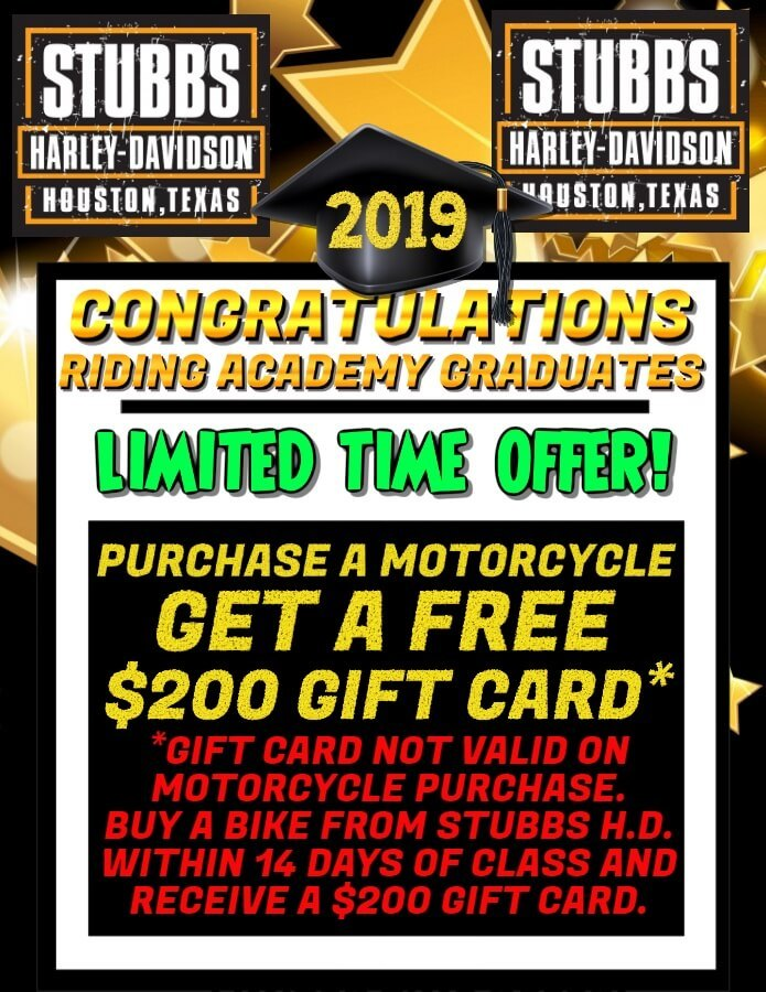 Riding academy graduates - buy a motorcycle and receive a $200 gift card